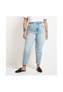 Calça Mom Jeans Com Aplicações De Strass E Bolinhas Metalizadas Curve & Plus Size   Ashua Curve E Plus Size   Azul   52