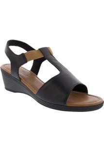 Sandália Usaflex Anabela Com Elástico Preto Preto