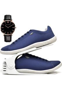 Kit Sapatênis Sapato Casual Com Organizador E Relógio King Dubuy 900Db Azul - Kanui