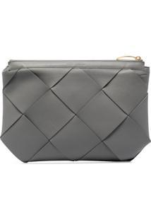 Bottega Veneta Large Maxi Intrecciato Clutch Bag - Cinza