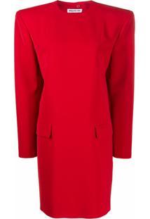 Balenciaga Vestido Campaign Com Ombreiras - Vermelho
