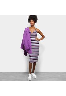 Vestido Colcci Midi Tubinho Listrado - Feminino-Lilás+Preto