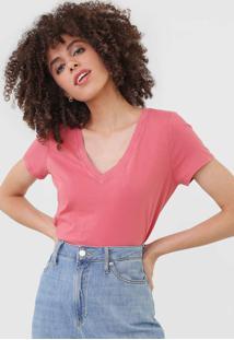 Camiseta Gap Gola V Rosa