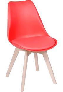 Cadeira Modesti- Vermelha & Madeira Clara- 83X49X42,Or Design