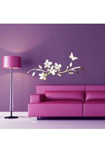Espelho Decorativo Acrílico - Floral & Borboleta