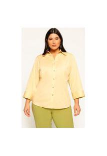 Camisa Ampla Almaria Plus Size Garage Manga Fenda Amarelo