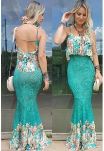 042255c97f ... Vestido Longo Viscolycra Estampado Donna Verde- Tam G