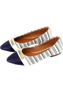 Sapatilha Alta Villa Shoes Bico Fino Listrado Azul