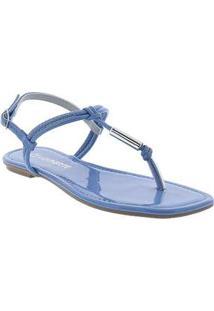 Sandália Rasteira Via Marte Verniz Azul