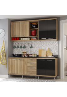 Cozinha Compacta 4 Peças Sicília S10T Multimóveis Argila/Preto