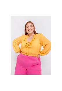 Blusa Almaria Plus Size Tal Qual Cropped Com Amarração Amarelo
