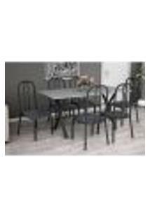 Conjunto De Mesa Miame 150 Cm Com 6 Cadeiras Madri Preto E Mesclado Petróleo