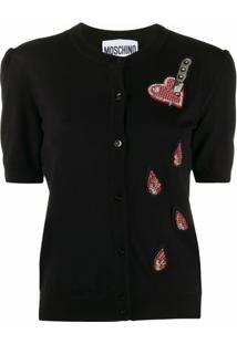 Moschino Cardigan Com Coração - Preto