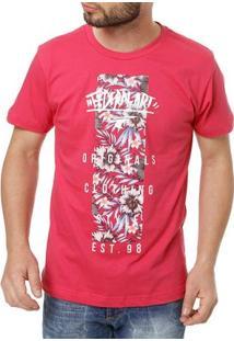 Camiseta Manga Curta Masculina Federal Art Vermelho