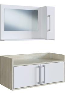 Conjunto De Balcão E Espelheira P/ Banheiro Baldo Branco/Nogal E Estilare Móveis