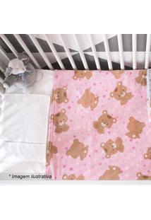 Cobertor Urso Estrela- Rosa Claro & Marrom Claro- 90Camesa