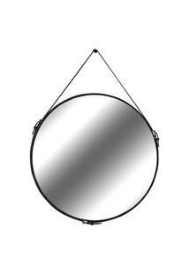 Espelho Elena Prata Borda Couro Preto 90Cm - 60291 Sun House