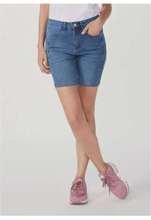 Bermuda Feminina Jeans Cintura Alta Comfort Azul