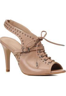 Sandal Boot Couro Shoestock Metais Salto Alto - Feminino-Nude