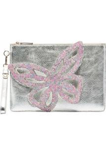 Sophia Webster Bolsa Clutch Flossy Butterfly - Prateado