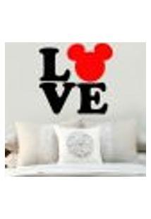 Adesivo De Parede Frase Love Mickey - P 50X50Cm
