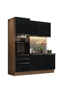 Cozinha Compacta Madesa Lux Com Armário E Balcão 5 Portas 3 Gavetas Rustic/Preto Rustic