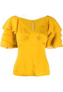 Dolce & Gabbana Blusa Com Babados Nas Mangas - Amarelo