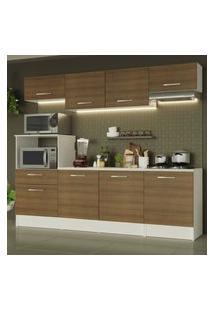 Cozinha Completa Madesa Onix 240001 Com Armário E Balcáo - Branco/Rustic Branco