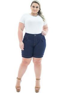 Shorts Confidencial Extra Jeans Acetinado Com Pregas Plus Size Feminino - Feminino-Azul
