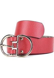 Cinto Couro Shoestock Fivela Dupla Feminino - Feminino-Vermelho