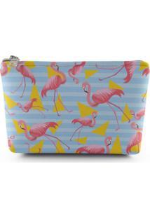 Necessaire Meu Primeiro Quartinho Flamingo Azul/Amarela
