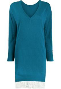 Twin-Set Suéter Decote Em V - Azul