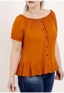 Blusa Ciganinha Plus Size Feminina Autentique Caramelo