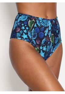 Calcinha Hot Pant Com Recorte- Azul Marinho & Azul- Verde Limão