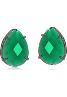 Brinco Le Diamond Gota Em Resina Verde - Verde - Feminino - Dafiti
