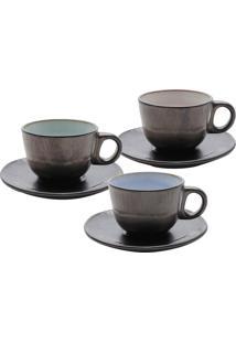 Jogo De Xícaras De Chá 12Pçs Cerâmica Para Chá Rustic Marrom 175Ml Bon Gourmet