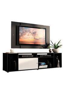 Rack Madesa Cancun E Painel Para Tv Até 58 Polegadas Preto/Branco 778N Preto