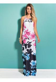 71e73f53c ... Vestido Longo Floral Quintess Decote Nas Costas
