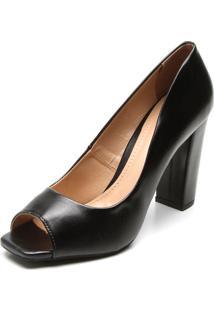 1381cbce45 ... Peep Toe Dafiti Shoes Salto Grosso Preto