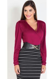 Blusa Moda Evangélica Transpassada Púrpura