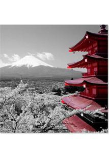 Quadro Japão Uniart Cinza & Vermelho 30X30Cm
