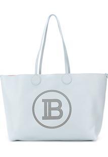 Balmain Perforated Monogram Tote Bag - Azul