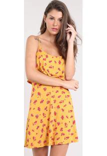 00f3db959 CEA. Vestido Feminino Curto Evasê Estampado Floral Com Sobreposição Alça  Fina Mostarda