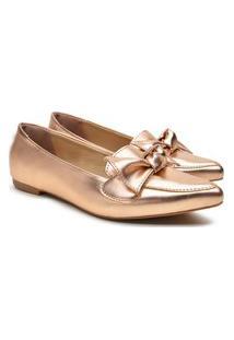 Sapatilha Feminina Metalizada Laço Bico Fino Casual Conforto Bronze 34 Bronze
