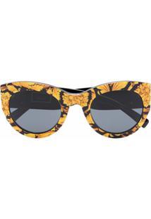 Versace Eyewear Óculos De Sol Gatinho Com Estampa Barroca - Amarelo