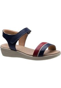 Sandália Doctor Shoes Couro Feminina - Feminino-Azul