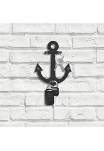 Porta Chaves Decorativo Em Mdf Âncora Naval Único