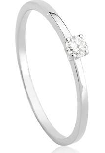 Anel Solitário De Ouro 18K Diamante 10 Pts Desire