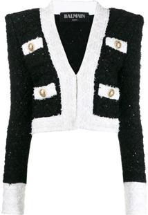 Balmain Jaqueta Cropped De Tweed - Preto