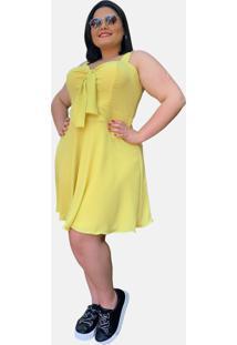 Vestido Curto Social Verão Tnm Collection Plus Size Casual Festa Amarelo